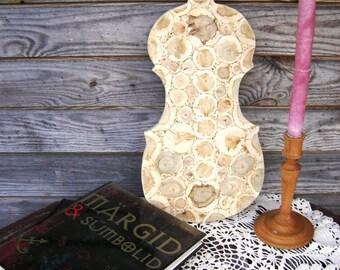 Juniper Wood Wall Hanging, Natural Wooden Wall Art, Handmade Wall Decor, Juniper in a Violin, Rustic Wall Art, Untreated Wood