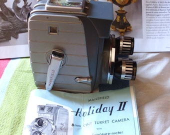 Movie Cameras - Mansfield Holiday II 8mm Triple Lens movie camera - The Holiday II has three lenses and a built in exposure meter -