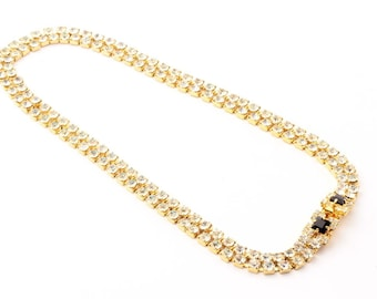 Vintage Czech gold tone necklace double row crystal black glass rhinestones 109-32