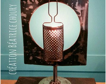 Deco lamp in solid ebony wood and metal