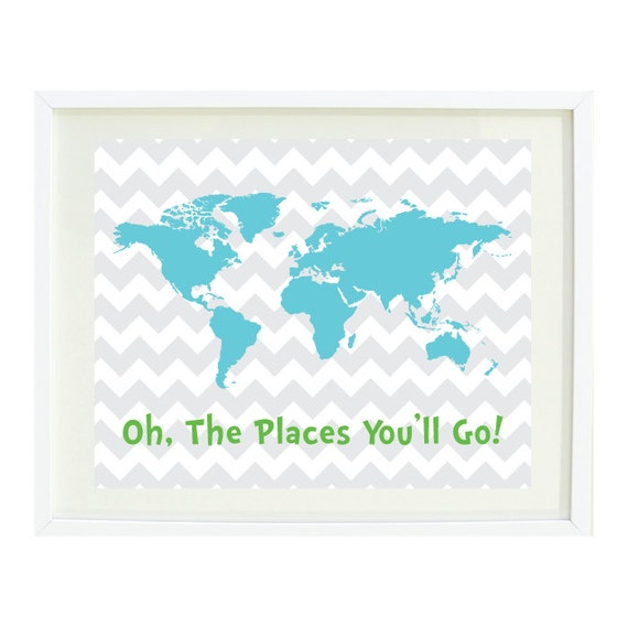 Oh The Places You Ll Go Quote Art Print 11x14 Chevron