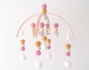 Modern Mobile No.1 - Mustard Pink Rose \\  Baby Girl Pink Mobile