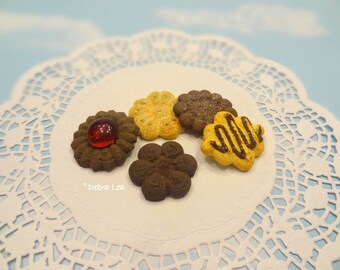 Fake Cookies Set of Five Handmade Faux Butter Sugar Cookie Press Spritz Danish Butter Shortbread A