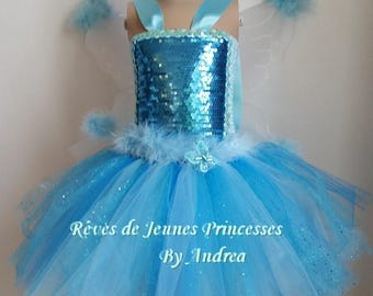 Blue tutu dress, fairy costume, Princess, butterfly with wings