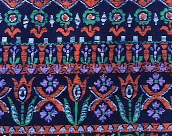 Vintage VELVET flower print cotton velvet fabric