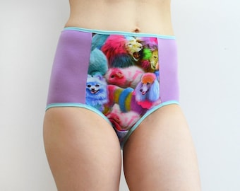 Panties with Rainbow poodle panel, lingerie, underwear