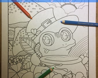 Whimsy Doodle Leprechaun Frog Cartoon Doodle Coloring Page for Adult Coloring PDF download by JennyLuanArt