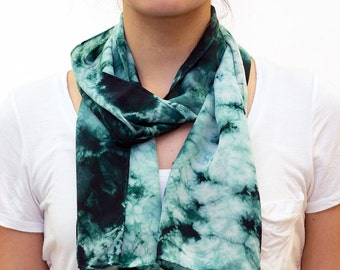Green and White Abstract Organic Pattern Hand Dyed Crepe de Chine Shibori Silk Scarf - 426