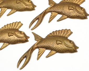5 pcs brass flying fish stampings, vintage heavy gauge great patina 47mm