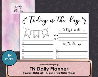 Daily Planner,TN,Travelers Notebook,Travelers Journal,Bullet Journal,TN Inserts,Travelers Notebook Inserts,Pocket TN,Field Notes Travelers