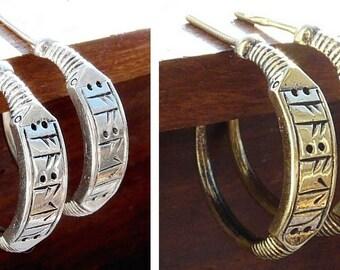 Runic bronze earrings in Viking style