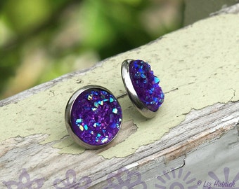 Purple Glitter Faux Druzy Studs, 12mm Chunky Cabochons on Stainless Steel Bezels and Posts