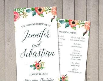 Watercolor Wedding Program (Printable) by Vintage Sweet