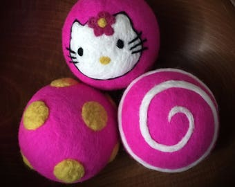 Cute Hello Kitty Wool Dryer Balls!!