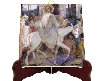 Christian gifts - Christ's Entry into Jerusalem - religious icon on tile handmade in Italy - Nesterov - Jesus icon - religious icon