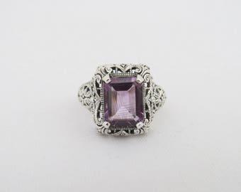 Vintage Sterling Silver Natural Amethyst Filigree Ring Size 10