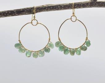 Gold Hoop Earrings  - Gemstone Hoop Earrings - Apatite Earrings - Gemstone Earring - Apatite Jewelry - Aqua Earrings Statement Earrings