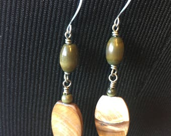Green and Tan Drop Earrings