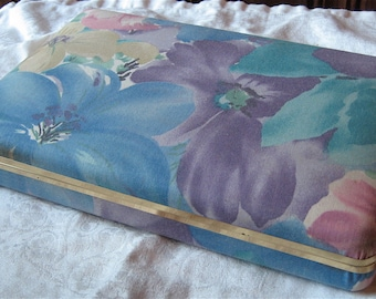 Hard Case Jewelry Box - Vintage Jewelry Box - Floral Print Travel Jewelry Case - Multiple Compartments, Ring Pegs - Jewelry Holder Organizer