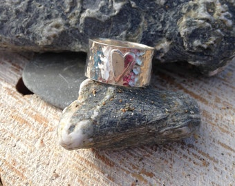 Forge, sterling silver hammered heart ring