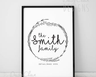 Personalised Family Name Print - Black and white - Modern - Floral - Simple - A4 print - Family - Established