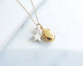 Tiny Gold Pebble Locket with Silver Star Necklace