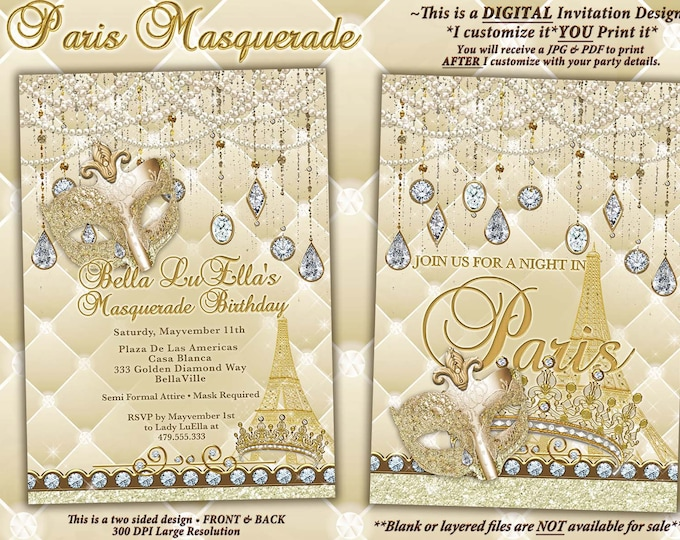 Paris Bling Masquerade Party Invitations