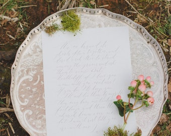 Pretty Quote for Weddings or Wall Art - Handwritten in Calligraphy