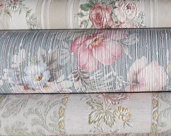 Lot of Vintage French Wallpaper samplers Embossed pink Roses stripes and bouquets