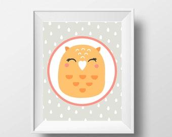 Owl-Printable art-Owl nursery-Printable owl-Owl print-Owl decor-Owl wall art-Owl kids decor-owl-kids-Owl kids room-Owl art kids-Owl art