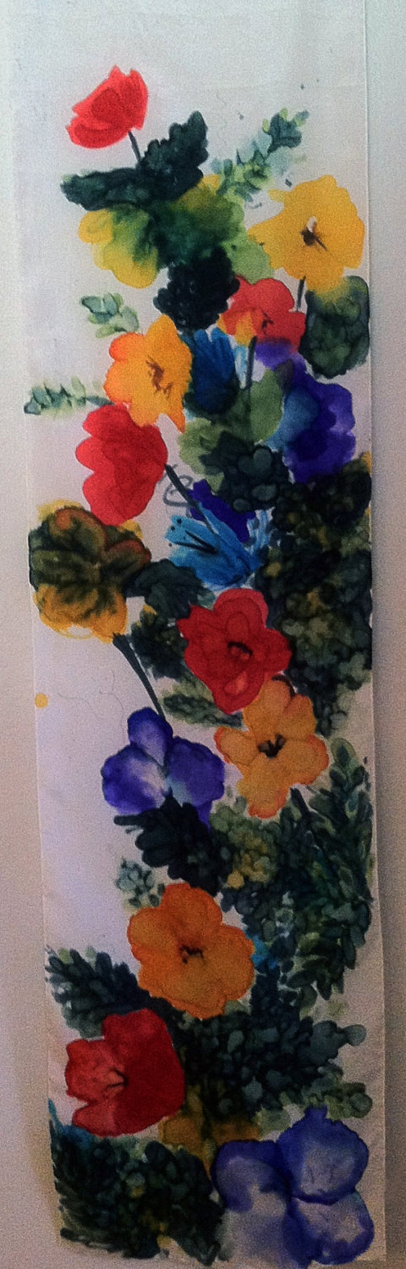 WILDFLOWERS - Hand Painted Silk Wall Hanging