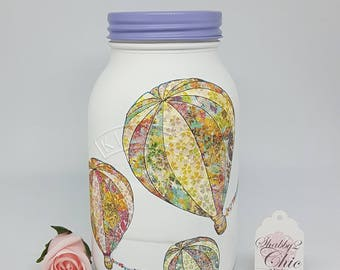 Pretty/ Hand Painted/Shabby Chic Hot Air Balloon design 1 ltr Kilner jar/Makeup Brush Holder/Money Jar/Office Desk Tidy/Birthday Gift/