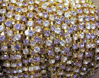 Swarovski Lavender and Crystal Rhinestone Chain, Raw Brass, 19SS, priced per foot