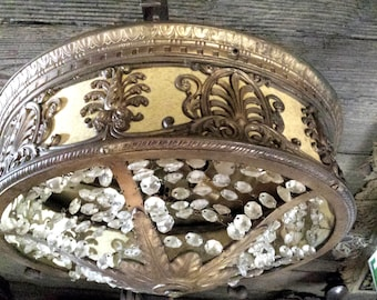 Antique Theater Light, Vintage Ceiling Light with Crystals, Reduced