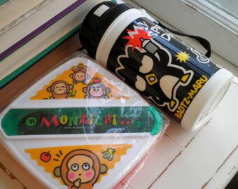 Vintage Monkichi & Badtz Maru Collectibles by Sanrio - Kawaii Sandwich Box / Lunch Case + Thermos - 1997 Pals of Hello Kitty Made in Taiwan
