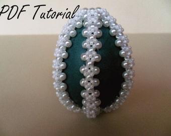 Beading tutorial Ornament Easter green egg tutorial Beaded easter egg pattern Instructions Beading pattern