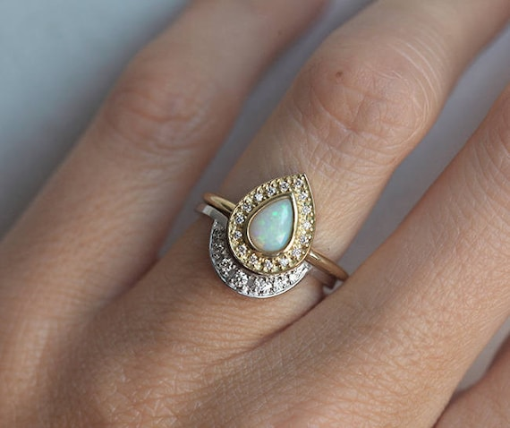 Opal Engagement Rings: Opal Engagement Ring Set Opal Ring With Curved Diamond Band