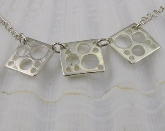 Handmade Delicate Geometric Silver Necklace 18 Inch Silverplate chain