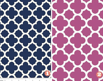 Designer Fabric Kitchen Dining Table Runner-Navy White/Hot Pink White Table Runner/Quatrefoil/Home Decorator Fabric 100 Percent Cotton Duck