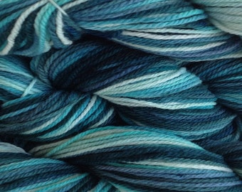 Aqua Blue Mint Green Blue Teal Hand Dyed Yarn Merino Wool Worsted Weight Yarn in Beach Glass Hand Dyed