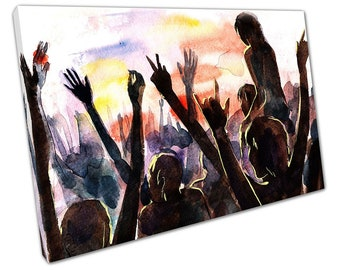 Watercolour Illustration Art Audience Dance Music Festival Ready to Hang X1388