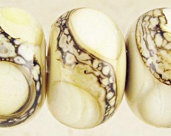 Glass Lampwork Beads Set of 6 Handmade Small 11x7mm Cream