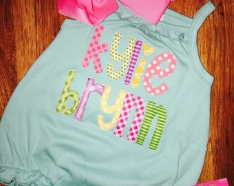 Girl's Name Applique Baby Bubble; Personalized