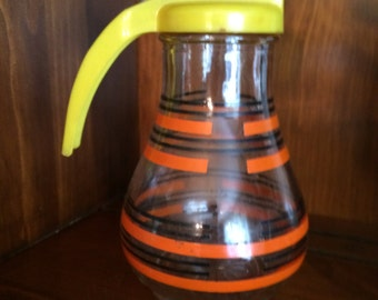 Vintage Federal Tool Corp. Orange & Black Striped Glass Syrup/Creamer Dispenser with Yellow Handle