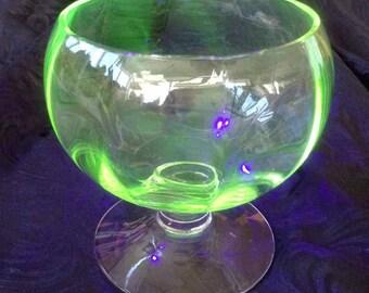 Vintage Vaseline Glass Multifaceted Goblet - Made in USA - 1940's