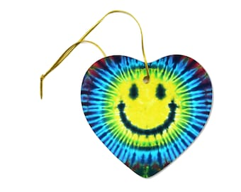 Blue Yellow Purple Smiley Face Tie Dye Hippy on a Heart Ceramic Hanging Ornament