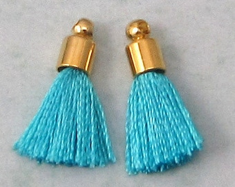 Tiny Silky Tassel Charm, Turquoise, Gold Cap, 17 MM, 2 Pieces, AG304