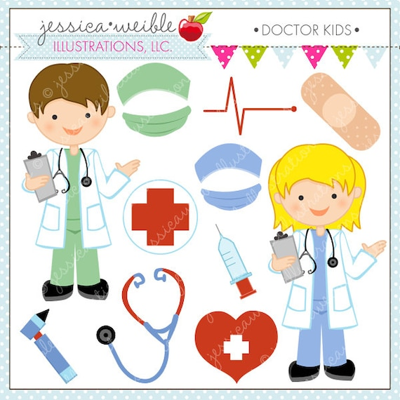 doctor kids cute digital clipart for commercial or personal use