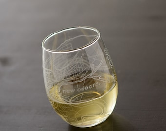 New Orleans Map Stemless Wine