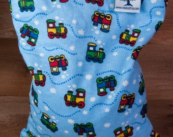 Large Corn Bag - Flannel Choo Choo - Hot and Cold Therapy, Moist Heat, Natural Pain Relief, Gifts for All Ages, Heating Pad